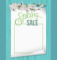 paper sheet with spring blooming branch vector image vector image
