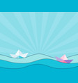 paper ships and paper waves origami seascape vector image vector image