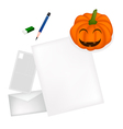 Pencil Lying on Blank Page with Halloween Pumpkin vector image vector image