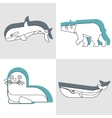 Polar animals in line style with color shadow vector image