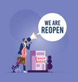reopen business to normal operation vector image