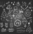 set cute and simple hand drawn christmas vector image