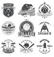 set of basketball and baseball badge emblem vector image vector image
