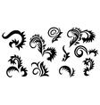 set of black floral elements for design vector image vector image