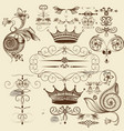set of calligraphic flourishes for design vector image vector image