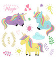 set of isolated unicorns and elements part 3 vector image