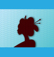 silhouette beauty japanese woman hairstyle vector image