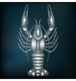Silver crayfish zodiac Cancer sign vector image