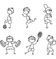 Stick Figure Sporting Icon Set vector image vector image