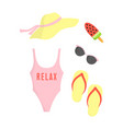 summer card with beach clothes isolated on white vector image