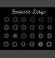 sunbursts set on black background vector image