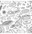 thanksgiving day doodle icons seamless pattern vector image