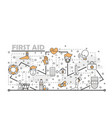 thin line art first aid poster banner vector image vector image