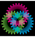 tree colored gears vector image vector image