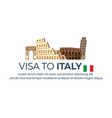 visa to italy travel to italy document for vector image