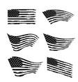 wavy american flag set black and white grunge usa vector image