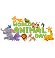 wold animal day template vector image