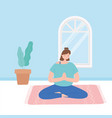 woman practicing yoga pose exercises healthy vector image