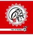 Year Of Monkey Postcard vector image