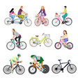People on bicycles white background vector image