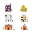 Colorful Flat Residential Houses Flat House Icons vector image