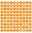 100 lamp icons set orange vector image vector image