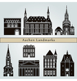 Aachen landmarks and monuments vector image vector image