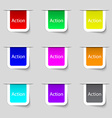 action sign icon motivation button with arrow set