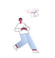 african american man controlling air drone vector image