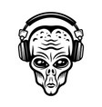 alien head in headphones black vector image vector image