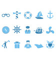 blue sailing icons set vector image