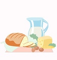 Bread and sliced cheese a pitcher of milk eggs a vector image