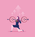 businesswoman holding target to success business vector image vector image