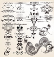 collection of calligraphic elements and swirls vector image vector image