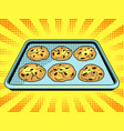 cookies baking sheet pop art vector image vector image