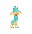 cute little giraffe wearing blue knitted hat and vector image vector image