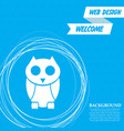 cute owl cartoon character icon on a blue vector image