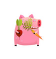 fat pig eating smart vegetable diet vector image vector image