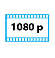 flat icon of 1080p hd video on white background vector image