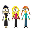 Girls Cartoon Independent Women Isolated on White vector image
