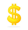 golden sign dollar with two vertical lines vector image
