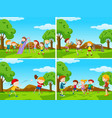 group of kids playing in playground vector image