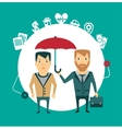 insurance agent holding umbrella vector image vector image