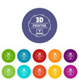 modeling 3d printing icons set color vector image
