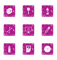 paint material icons set grunge style vector image