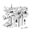 paris rooftops sketch line drawing vector image