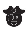 pirate emoji black concept icon pirate vector image vector image