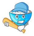playing baseball sour cream in a glass bowl vector image