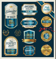 quality gold and blue retro badges collection vector image vector image
