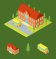 school building and elements part isometric view vector image vector image